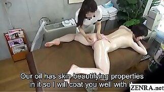 Pale Japanese milf prone oil massage sex with Subtitles