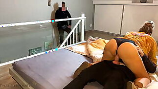 housewife cheating with husband watches and gives her a second cum fill